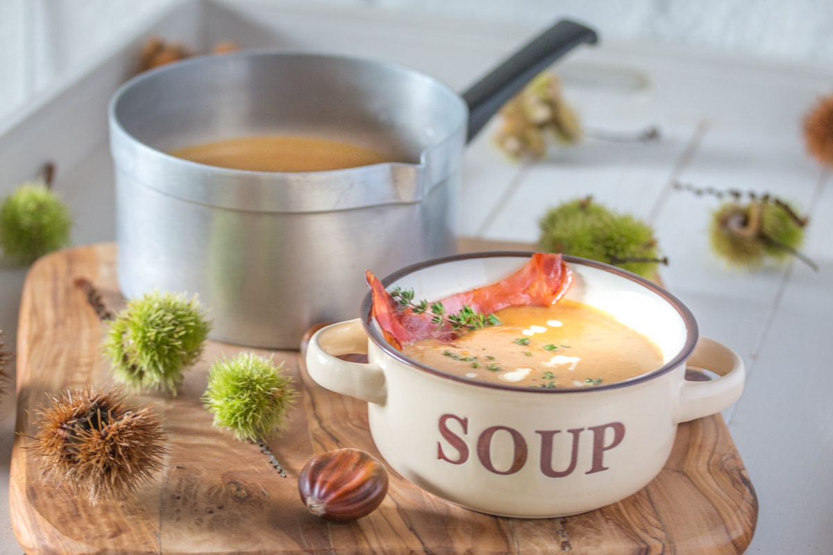 Maronensuppe mit Thymian und Speck glutenfrei