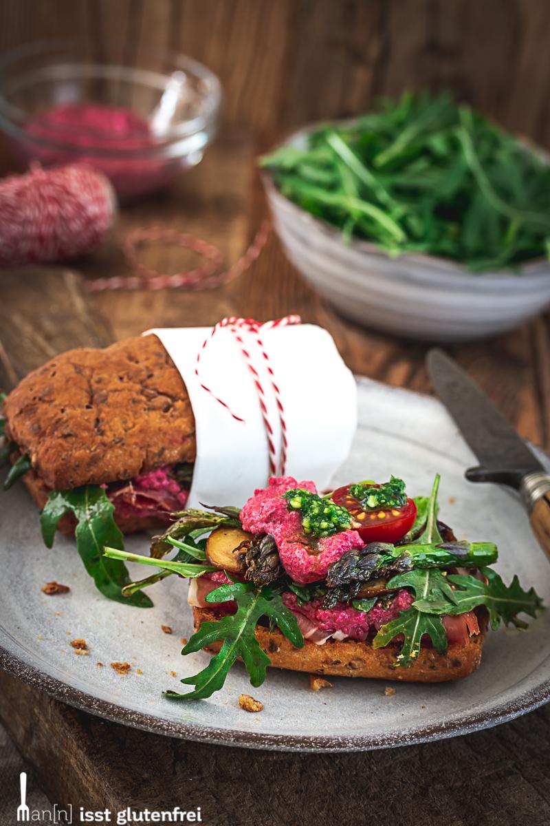 Rustikales Frühlings-Sandwich
